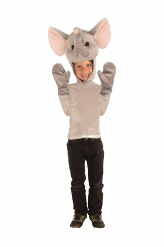 Childs Plush Elephant Hat Cap Hood Beanie and Gloves Set