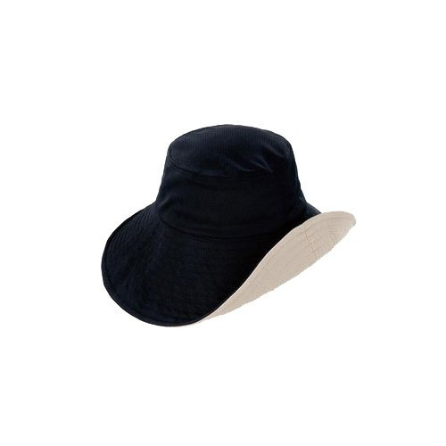 折りたためる リバーシブルUV日よけ帽子 ブラック×ベージュ
