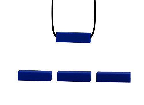 Stimtastic Chewable Silicone Block Necklace Nontoxic BPA and Phthalate Free, Blue