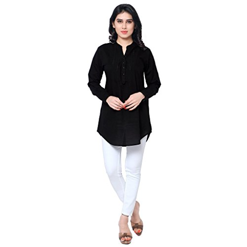 THEIA Women's Black Cotton Solid kurti (TH16BCK056-Large)