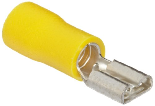 """Morris Products 10331 Female Disconnect, Vinyl Insulated, Yellow, 12-10 Wire Size, 0.032""""X0.187"""" Nema Tab (Pack Of 100)"""