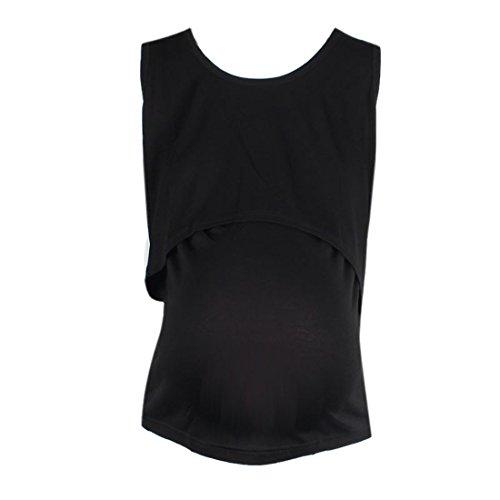 Stillen-Weste-Ularmo-Schwangere-Strapse-Umstandsmode-Nursing-Tops-Stillen-T-Shirt-Schwarz