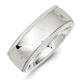 Genuine IceCarats Designer Jewelry Gift Ss 8Mm Millgrain Comfort Fit Band Size 10.00