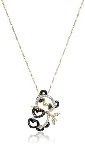 "14k Yellow Gold Black and White Diamond Panda Bear Pendant (.17cttw, I3 Clarity) 18"""