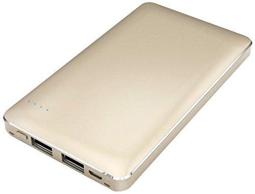 【Amazon.co.jp限定】SMILE WORLD 10,000mAh モバイルバッテリー 2USBポート同時充電可能 リチウムポリマー電池使用 メタルゴールド SWA-1-GL 【フラストレーションフリーパッケージ(FFP)】
