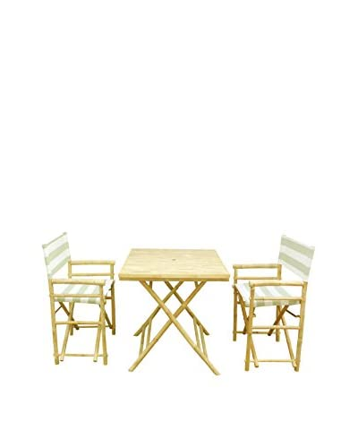 ZEW, Inc. Square Table & Director Chair Set, Celadon Stripes