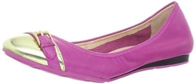 Cole Haan Women's Air Reesa Buckle Ballet Flat,Pink/Gold,5 B US