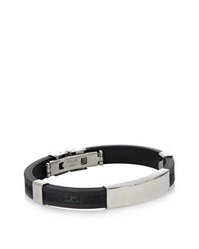 Stephen Oliver Black ID Bracelet In Silver
