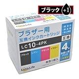 【Luna Life】 ブラザー用 互換インクカートリッジ LC10-4PK ブラック1本付き 5本パック LN BR10/4P BK+1