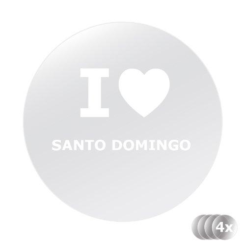 Kennzeichenaufkleber, Nummernschildaufkleber, Handyaufkleber, Spiegelaufkleber, Aufkleber WEIß - 4 Stück - I love SANTO DOMINGO