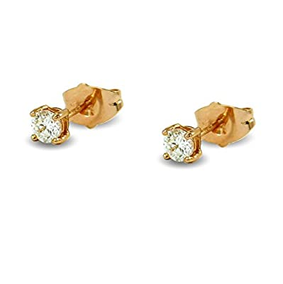 Small 9ct Rose Gold Filled 4mm Simulated White Diamond Womens or Girls Stud Earrings