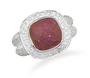 Sterling Silver Rough-Cut Ruby Ring with CZ Edge / Size 7
