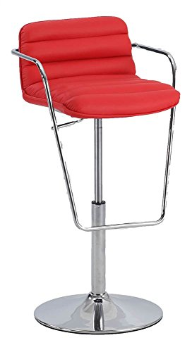 Chintaly 0692 Ribbed Pattern Pneumatic Stool In Red 0692-AS-RED