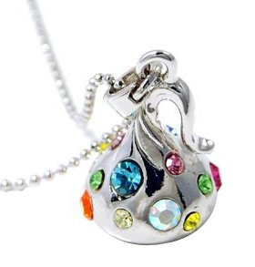 Hershey's Style Chocolate Kiss Necklace in Silver with Multicolor Crystal Accents