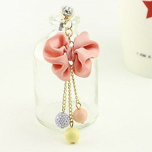 Brandbuy(Tm) Earphone Jack Accessory Pink Bow Three Crystal Beads Cell Charms Dust Plug Ear Jack For Audio Headphone / Iphone 4 4S / Samsung Galaxy S2 S3 Note I9220 / Htc / Sony / Nokia / Motorola / Lg / Lenovo / Ipad / Ipod Touch / Other 3.5Mm Ear Jack