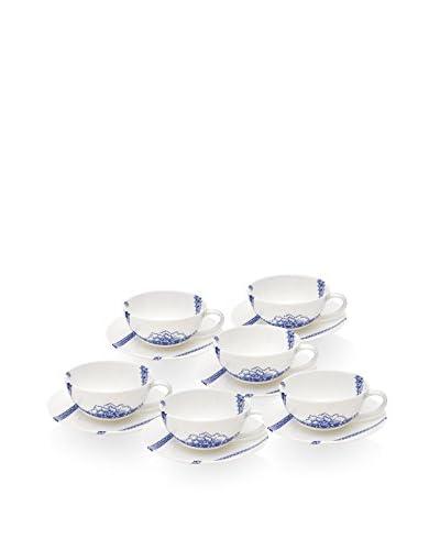 Elinno Runaway Ribbons Set of 6 Teacups & Saucers, Blue