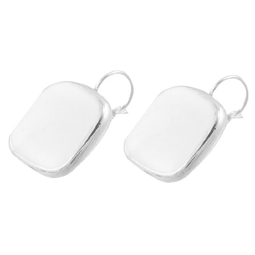 Rosallini White Square-Shape Earbob Clip Earrings for Lady
