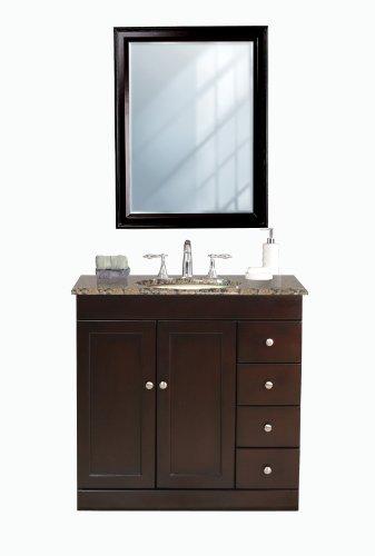 Virtu USA LS-1039BB Modena 36-Inch Single Sink Bathroom Vanity with Mirror and Ivory Ceramic Basin, Espresso Finish