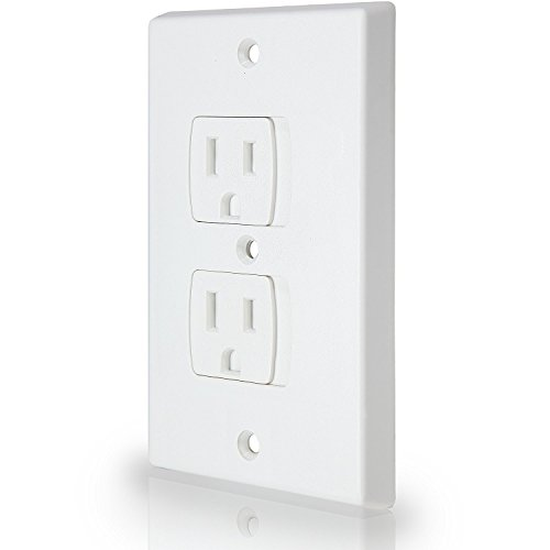 Self-Closing Electrical Outlet Covers for Baby Proofing | An Alternative to Socket Plugs | All Mounting Hardware Included | Free Lifetime Replacement (4 Pack, White)