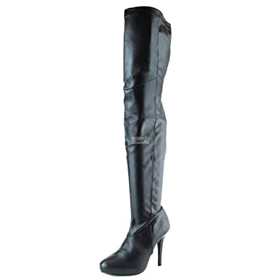 Quipd PERSIST-29A Hot and Sexy faux Leather Over the Knee Thigh High Stiletto Heel Boot ZOOSHOO