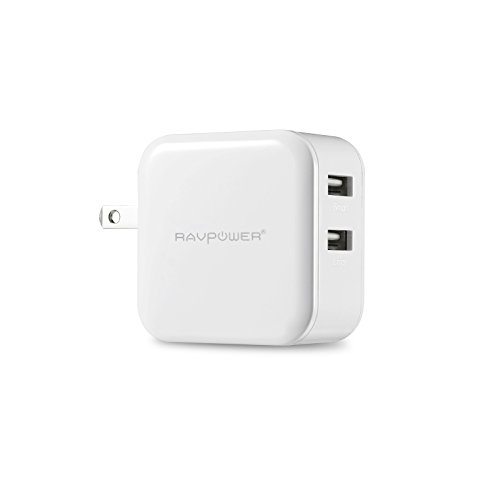 RAVPower® Travel Charger / Wall Charger Dual USB Charge (24W/ 4.8A, Swivel Plug),Designed for iPhone 6, 5s, 5c, 5, 4s, 4; iPad 5, Air, mini; ipod Touch, nano; Samsung Galaxy S5, S4, S3, S2, Galaxy Note 3, 2; LG G2; Nexus 5, 7; Motorola Droid RAZR MAXX; Blackberry; Nook Color; Bluetooth Speakers & Headsets; HTC One X V S; external batteries and more – White