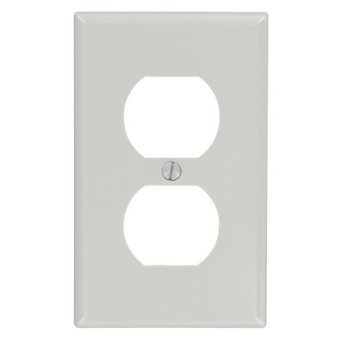 Leviton 87003 1-Gang Duplex Device Receptacle Wallplate, Standard Size, Thermoset, Device Mount, Gray