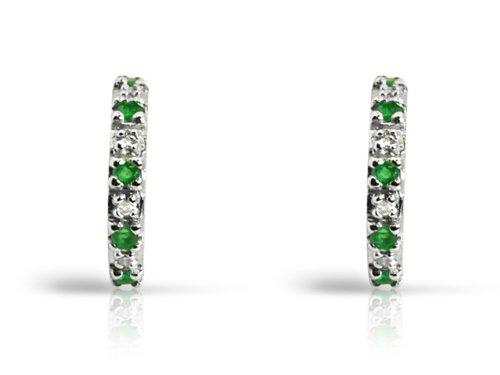 Sterling Silver Emerald And Diamond Half Hoop Birthstone Earrings