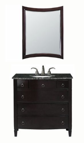 Virtu USA LS-1041BB Venice 36-Inch Single Sink Bathroom Vanity with Mirror and Ivory Ceramic Basin, Espresso Finish