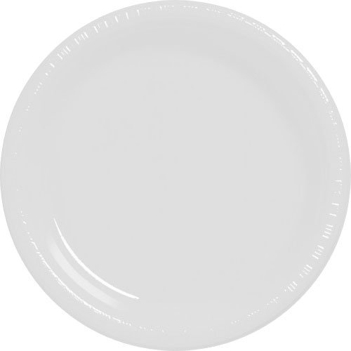 Amscan Big Party Pack 50 Count Plastic Dessert Plates, 7-Inch, White
