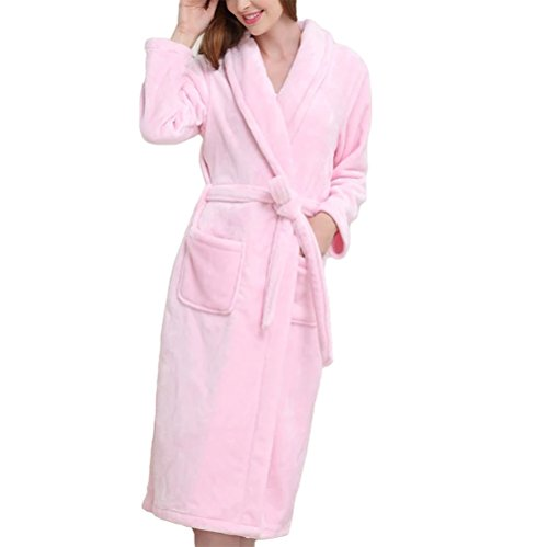 LUXEHOME Women's Ultra Soft 100% Flannel Bathrobe Luxury Shawl Collar Spa Robes