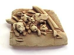 Cast Stone Road Trip - Puppy Dogs, Kitten Cat - Collectible Pet Plaque - Concrete Indoor/Outdoor Sculpture - Terra Cotta Finish