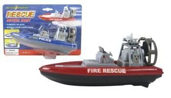 "8"" Rescue Patrol Boat w/ Water Action and Control Rudder + Fun Bath Tub Pool Toy Boats for kids - 1"