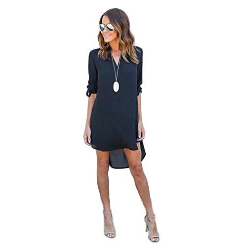 Creazy® Women Blouse Chiffon Long Sleeve T Shirt Casual Dress Tops (S, Navy blue)