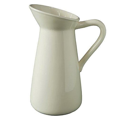 Elegant Expressions by Hosley Medium Ceramic Pitcher Vase, Cream (White Ceramic Pitcher Vase compare prices)