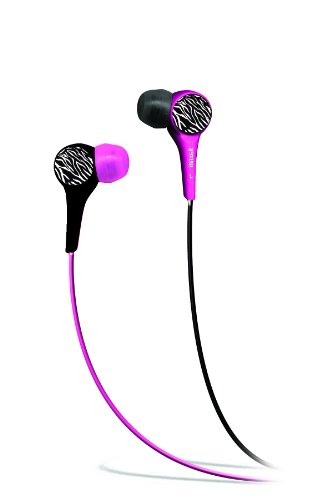 Maxell 190344 Wild Things Pink And Black Zebra In-Ear Buds