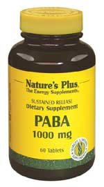 Paba 1,000mg Time Release Nature's Plus 60 Sustained Release Tablet