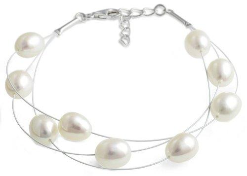 bracciale bianco perla d'acqua dolce a strati di Jersey Pearl