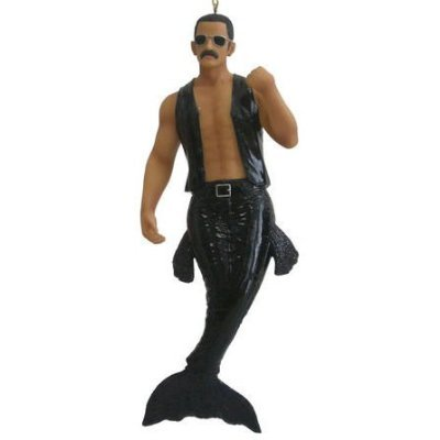 """December Diamonds Hot BUTCH Leather Top Merman Ornament with Handlebar Mustache is Ready to Command You!!!.BUTCH has been out of Circulation for several years so he is an Absolute Collector's Item. Sculpted Face,""""Leather"""" Vest + Pockets on his Tail-Very Rare is a DD Merman. He is 7 3/4 inches long,Gift Boxed, & Ready to Hang on a Gold Cord.He will never be produced again!"""