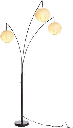 light floor lamp with rice paper shades antique bronze paper. Black Bedroom Furniture Sets. Home Design Ideas