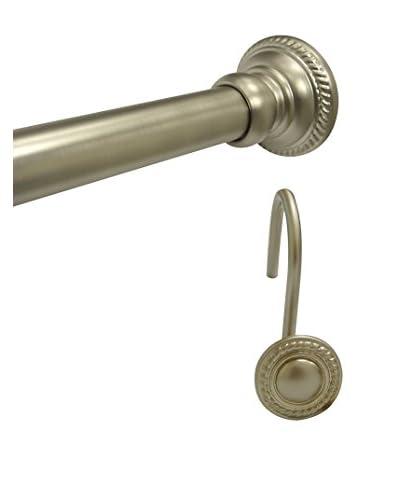 Elegant Home Ornate Shower Tension Rod & Hook Set, Satin Nickel
