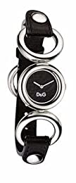 DW0407 Ladies D&G BB Black Face Black Leather Strap Watch