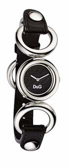 D & G Ladies Bb Quartz Watch DW0407 With Black Round Analogue Dial And Black Leather Strap