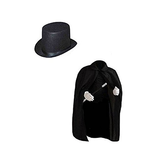 Dazzling Toys Children's Black Magician Cape with Magician Hat (D127)