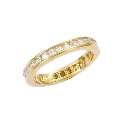 18K Gold Plated Clear Cubic Zirconia Eternity Wedding Band Ring - Size 10.5