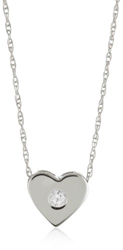 Kobelli 0.05 Cttw Small Diamond Heart Shaped Pendant Necklace