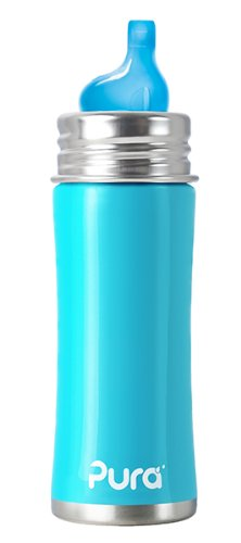 Pura Stainless Kiki Sippy Bottle Stainless Steel, 11 Ounce, Aqua Blue