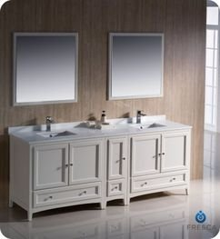 "Oxford 84"" Traditional Double Sink Bathroom Vanity Set Finish: Antique White front-940960"