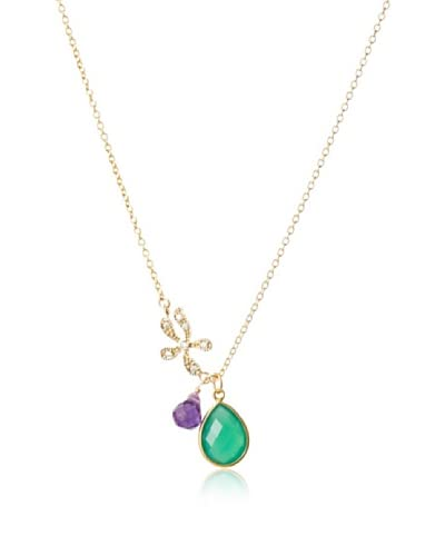 Diane Yang Designs Asymmetrical Green Agate and Purple Amethyst Necklace
