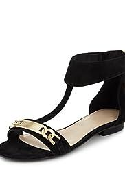 Suede Chain Trim T-Bar Sandals with Insolia Flex� [T02-1979A-S]