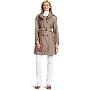 AK Anne Klein Women's Ruffle Trench Coat, Mushroom, Large